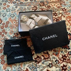 Chanel Summer Linen Wedges with Heart CC buckle